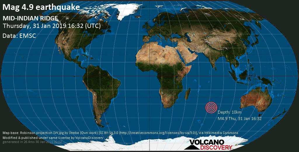 Light mag. 4.9 earthquake  - MID-INDIAN RIDGE on Thursday, 31 January 2019