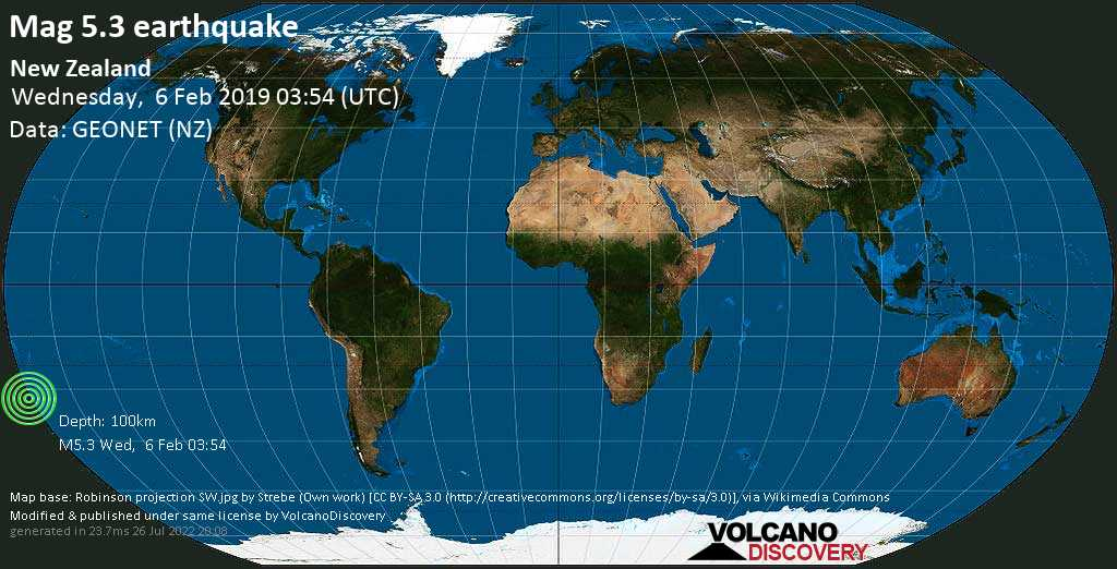 Moderate mag. 5.3 earthquake  - South Pacific Ocean, 1106 km northeast of Wellington, Wellington City, New Zealand, on Wednesday, 6 February 2019 at 03:54 (GMT)