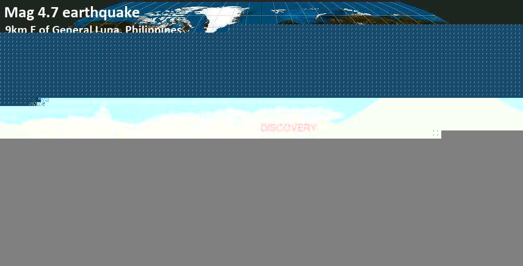 Light mag. 4.7 earthquake  - 9km E of General Luna, Philippines on Friday, 8 February 2019