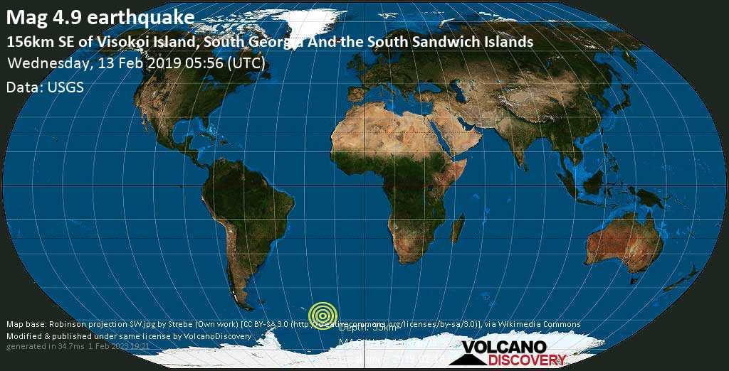 Moderate mag. 4.9 earthquake - South Atlantic Ocean, South Georgia & South Sandwich Islands, on 2019-02-13 03:56:01 -02:00