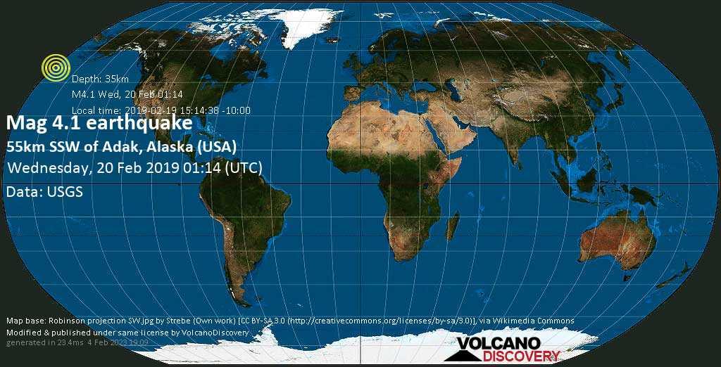 Light mag. 4.1 earthquake  - 55km SSW of Adak, Alaska (USA) on Wednesday, 20 February 2019