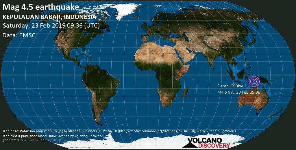 Mag. 4.5 earthquake  - Banda Sea, 413 km southeast of Ambon City, Maluku, Indonesia, on Saturday, 23 February 2019 at 09:36 (GMT)