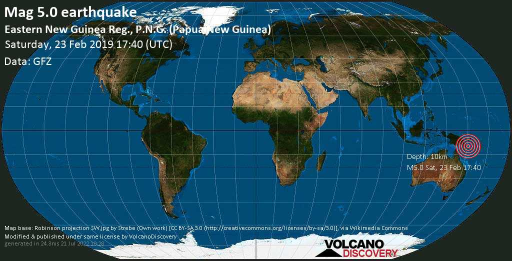 Strong mag. 5.0 earthquake - Solomon Sea, 17 km south of Ipoteto Island, Milne Bay Province, Papua New Guinea, on Saturday, 23 February 2019 at 17:40 (GMT)