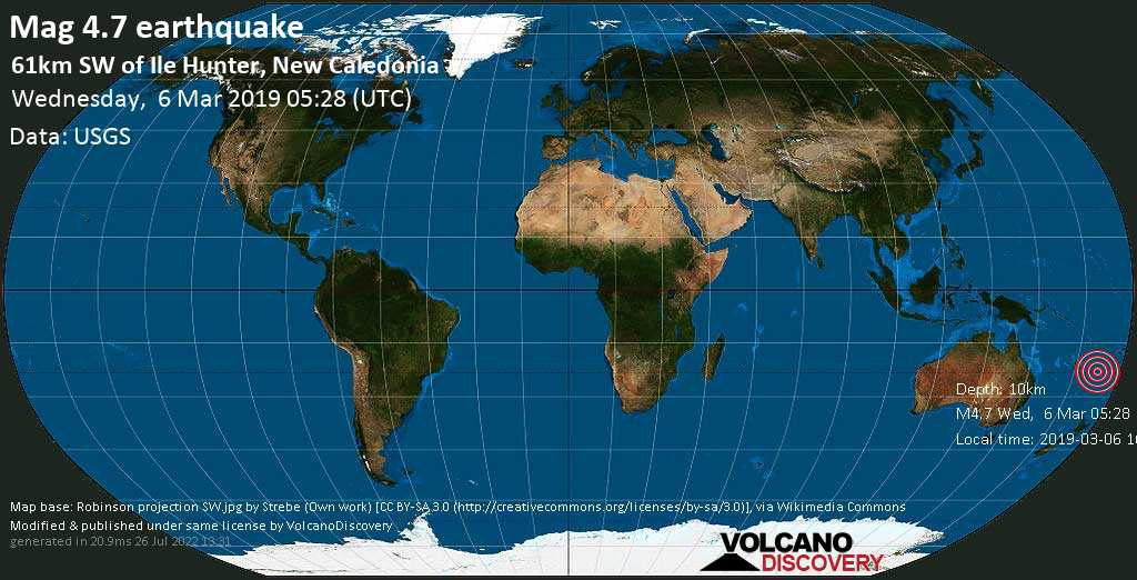 Light mag. 4.7 earthquake  - 61km SW of Ile Hunter, New Caledonia on Wednesday, 6 March 2019