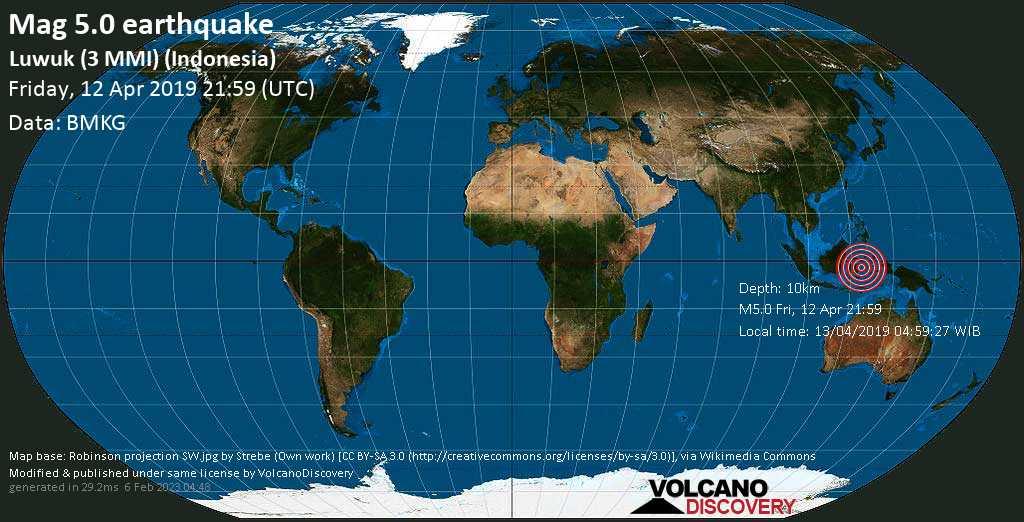 Strong mag. 5.0 earthquake - Banda Sea, 34 km west of Pulau Bangkurung Island, Sulawesi Centrale, Indonesia, on 13/04/2019 04:59:27 WIB