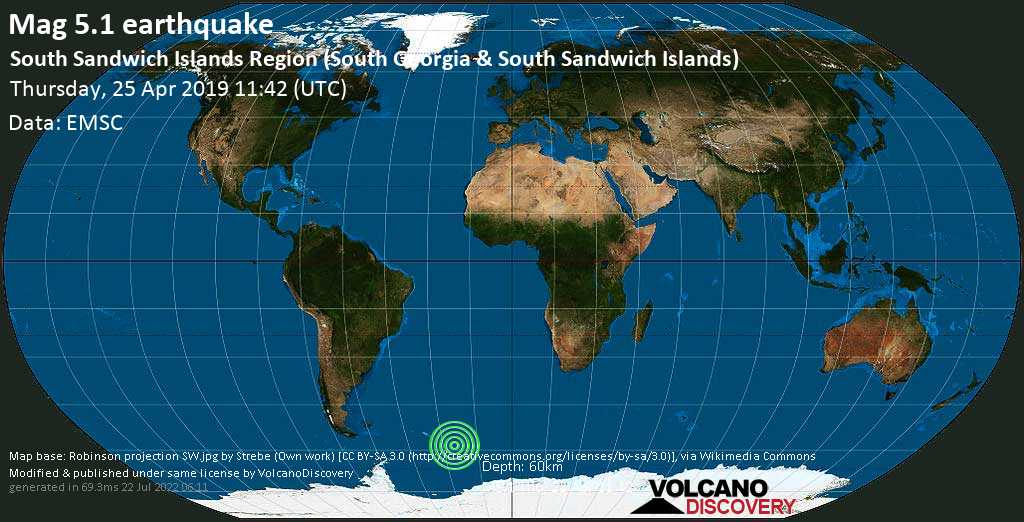 Moderate mag. 5.1 earthquake - South Atlantic Ocean, South Georgia & South Sandwich Islands, on Thursday, 25 April 2019 at 11:42 (GMT)