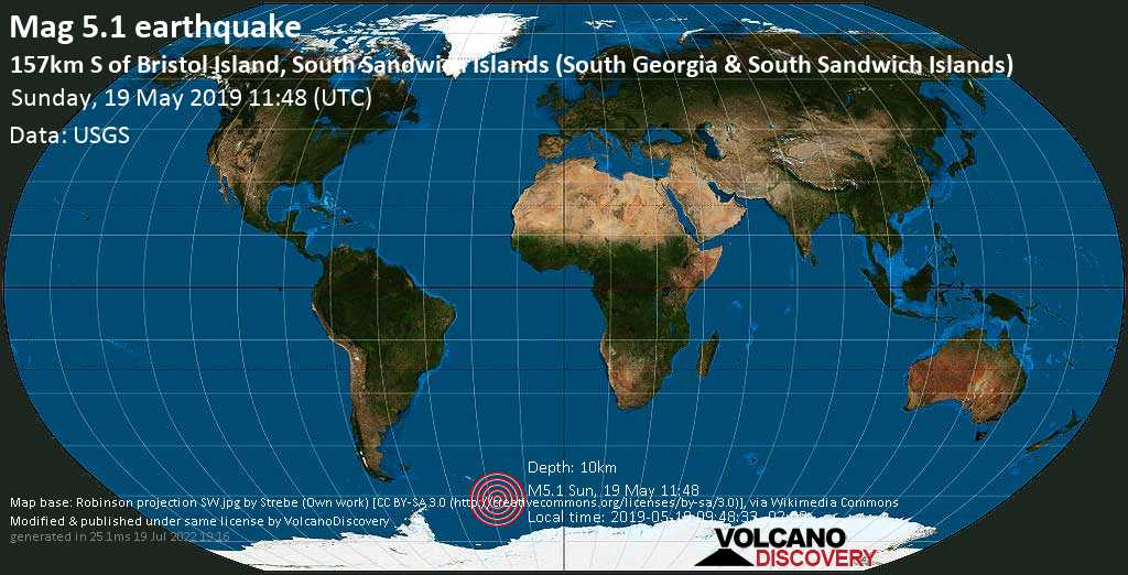 Strong mag. 5.1 earthquake - South Atlantic Ocean, South Georgia & South Sandwich Islands, on 2019-05-19 09:48:33 -02:00