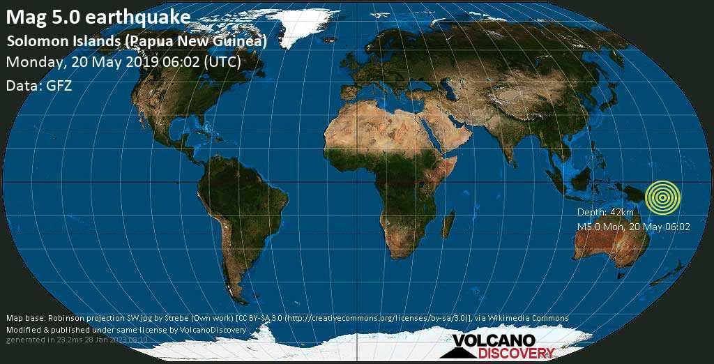Moderate mag. 5.0 earthquake - Solomon Sea, 94 km southwest of Torokina Islet Island, Papua New Guinea, on Monday, 20 May 2019 at 06:02 (GMT)