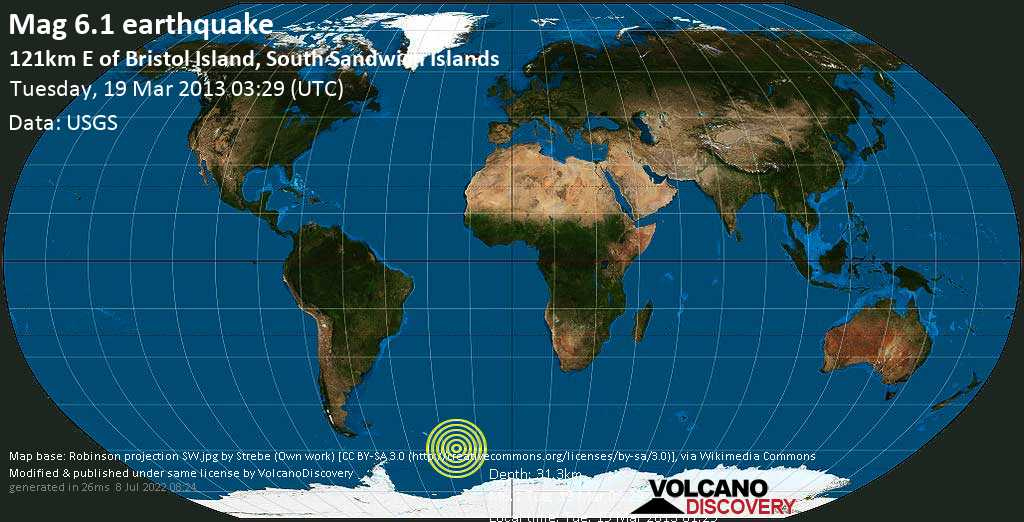 Strong mag. 6.1 earthquake  - 121km E of Bristol Island, South Sandwich Islands on Tuesday, 19 March 2013