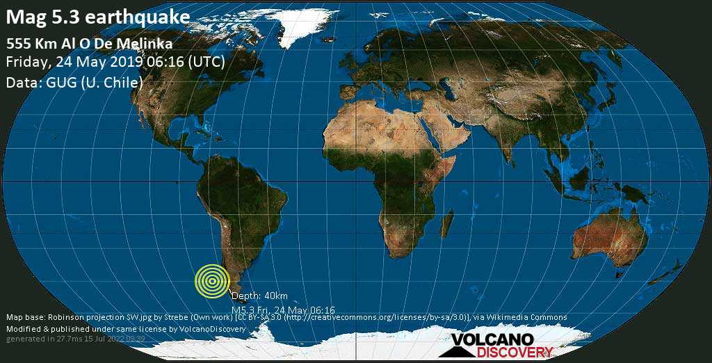 Moderate mag. 5.3 earthquake  - 555 km al O de Melinka on Friday, 24 May 2019