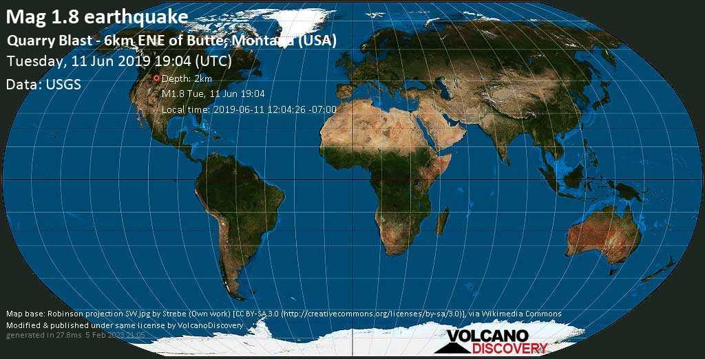 Minor mag. 1.8 earthquake  - Quarry Blast - 6km ENE of Butte, Montana (USA) on Tuesday, 11 June 2019