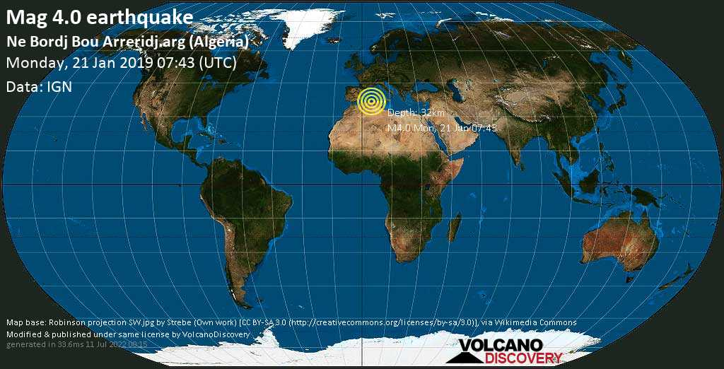 Light mag. 4.0 earthquake - 14 km west of Lafayette, Setif, Algeria, on Monday, 21 January 2019 at 07:43 (GMT)