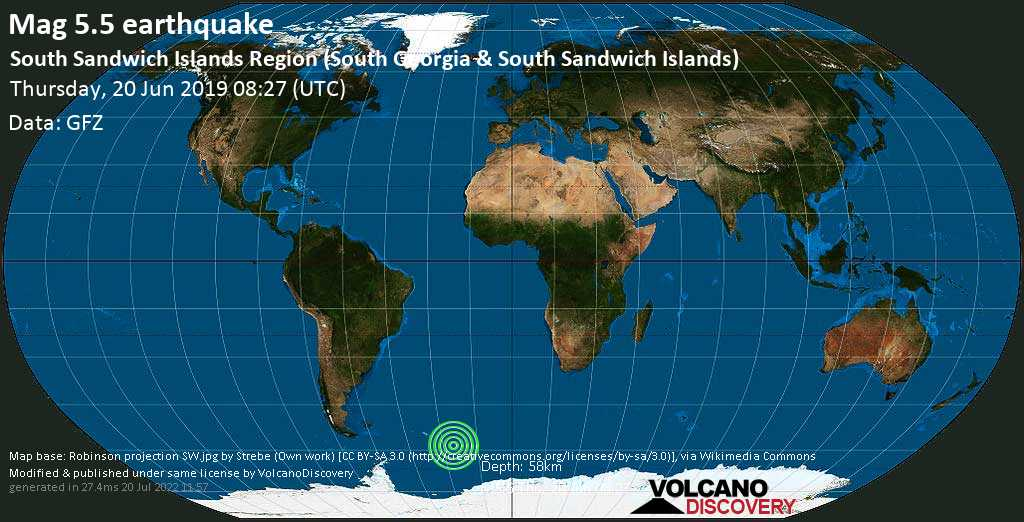 Moderate mag. 5.5 earthquake - South Atlantic Ocean, South Georgia & South Sandwich Islands, on Thursday, 20 June 2019 at 08:27 (GMT)