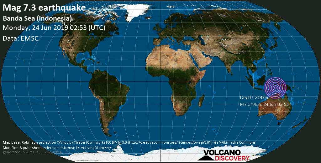 Major mag. 7.3 earthquake  - Banda Sea (Indonesia) on Monday, 24 June 2019