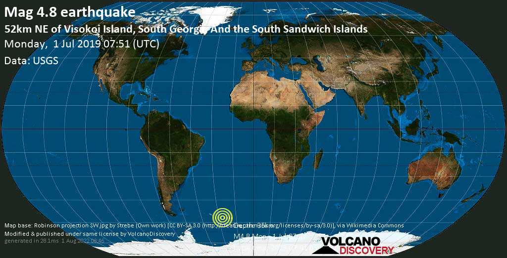 Moderate mag. 4.8 earthquake - South Atlantic Ocean, South Georgia & South Sandwich Islands, on 2019-07-01 05:51:27 -02:00