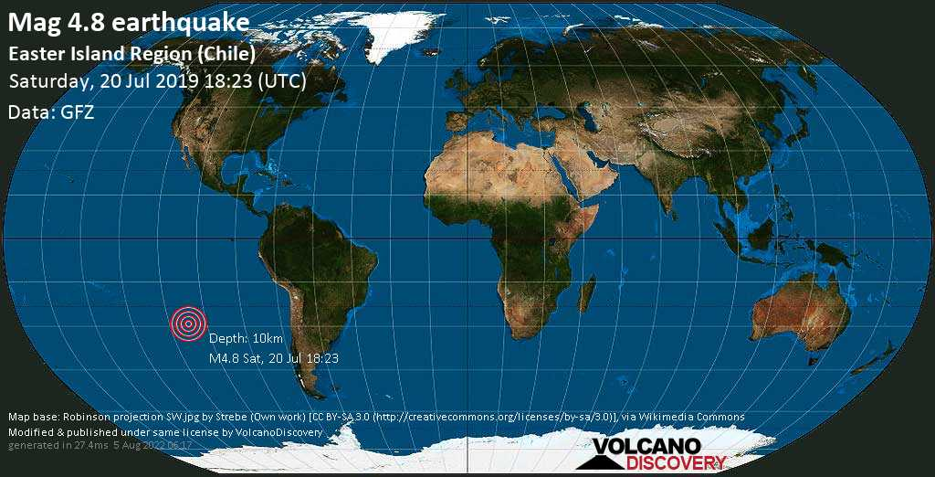 Mag. 4.8 earthquake  - South Pacific Ocean, 317 km southwest of Hanga Roa, Provincia de Isla de Pascua, Region de Valparaiso, Chile, on Saturday, 20 July 2019 at 18:23 (GMT)