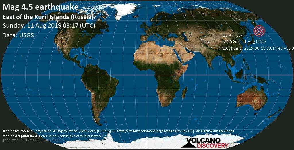Light mag. 4.5 earthquake  - East of the Kuril Islands (Russia) on Sunday, 11 August 2019