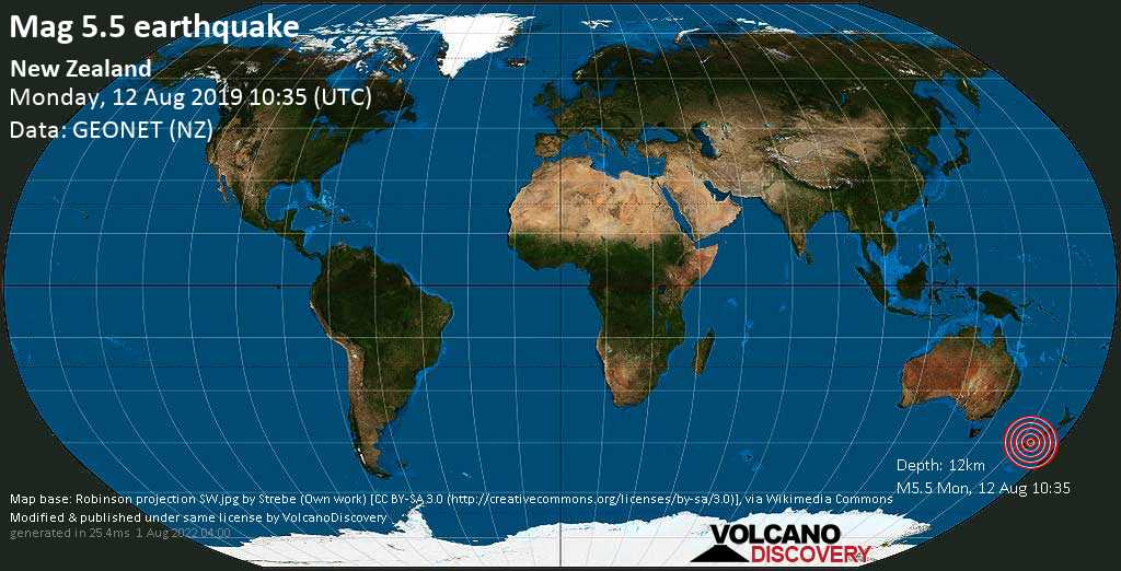 Strong mag. 5.5 earthquake - 18 km north of Milford Sound, Southland District, New Zealand, on Monday, 12 August 2019 at 10:35 (GMT)