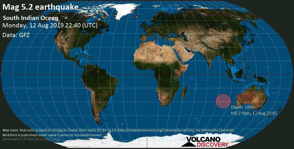 Moderates Erdbeben der Stärke 5.2 - South Indian Ocean am Montag, 12. Aug. 2019