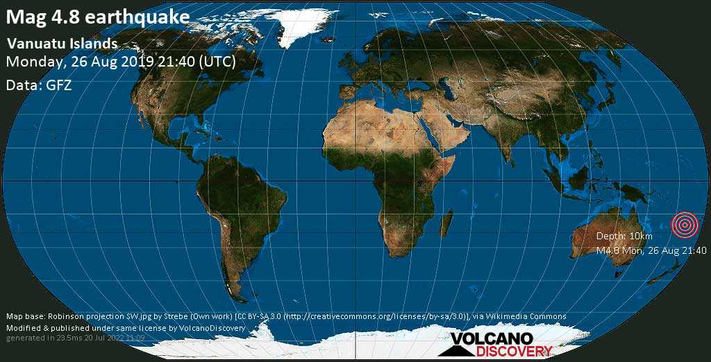Moderate mag. 4.8 earthquake - Coral Sea, 72 km southeast of Isangel, Tafea Province, Vanuatu, on Monday, 26 August 2019 at 21:40 (GMT)