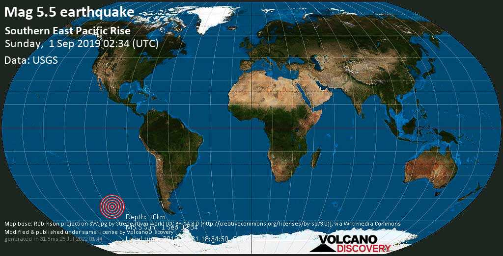 Moderate mag. 5.5 earthquake  - Southern East Pacific Rise on Sunday, 1 September 2019