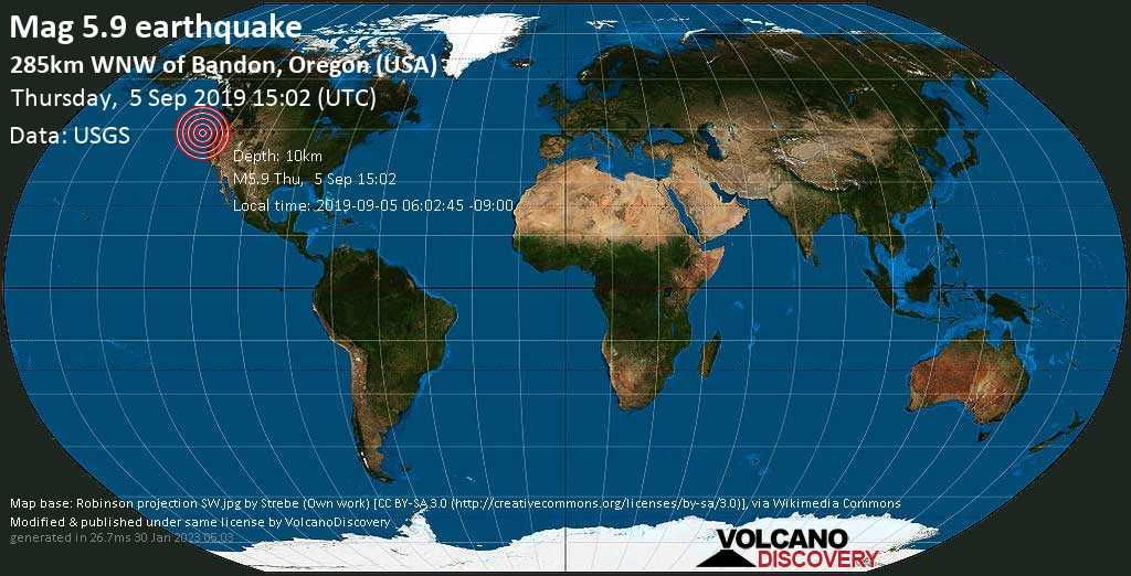Moderate mag. 5.9 earthquake  - 285km WNW of Bandon, Oregon (USA) on Thursday, 5 September 2019