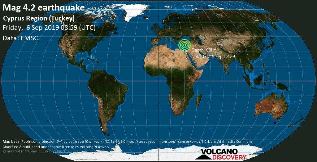 Light mag. 4.2 earthquake - Eastern Mediterranean, 90 km south of Alanya, Antalya, Turkey, on Friday, September 6, 2019 at 08:59 (GMT)