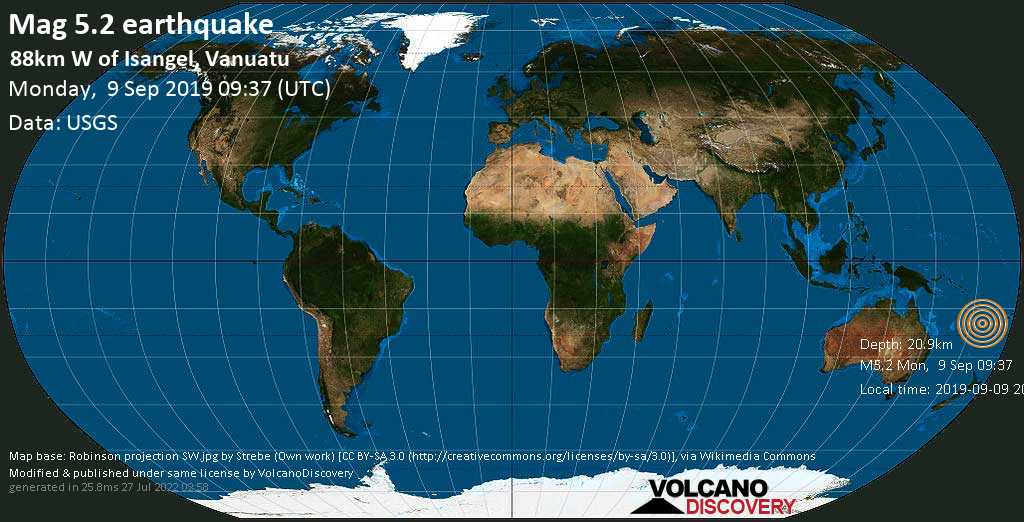Strong mag. 5.2 earthquake - Coral Sea, 90 km west of Isangel, Tafea Province, Vanuatu, on 2019-09-09 20:37:58 +11:00