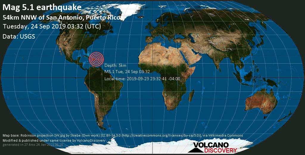 Strong mag. 5.1 earthquake - North Atlantic Ocean, 80 km northwest of Arecibo, Puerto Rico, on 2019-09-23 23:32:41 -04:00