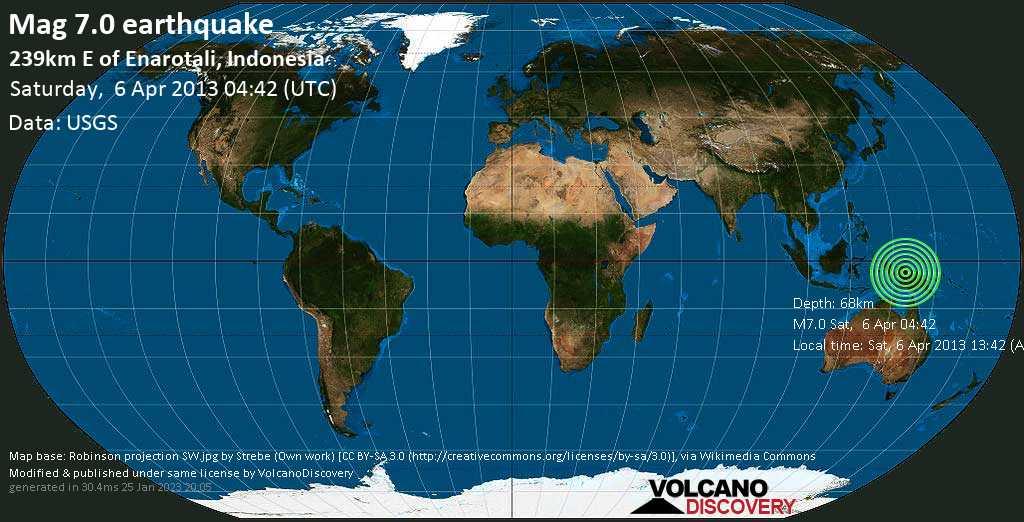 Major mag. 7.0 earthquake  - 239km E of Enarotali, Indonesia, on Sat, 6 Apr 2013 13:42 (Asia/Jayapura)