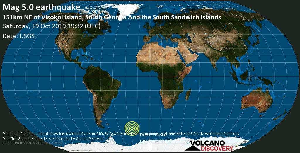 Moderate mag. 5.0 earthquake - South Atlantic Ocean, South Georgia & South Sandwich Islands, on 2019-10-19 17:32:43 -02:00