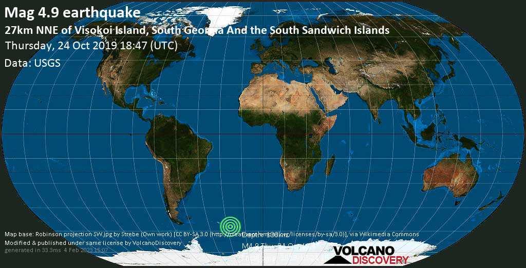 Light mag. 4.9 earthquake - South Atlantic Ocean, South Georgia & South Sandwich Islands, on 2019-10-24 16:47:35 -02:00