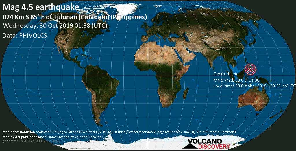 Mag. 4.5 earthquake  - 15 km southwest of Makilala, Province of Cotabato, Soccsksargen, Philippines, on 30 October 2019 - 09:38 AM (PST)