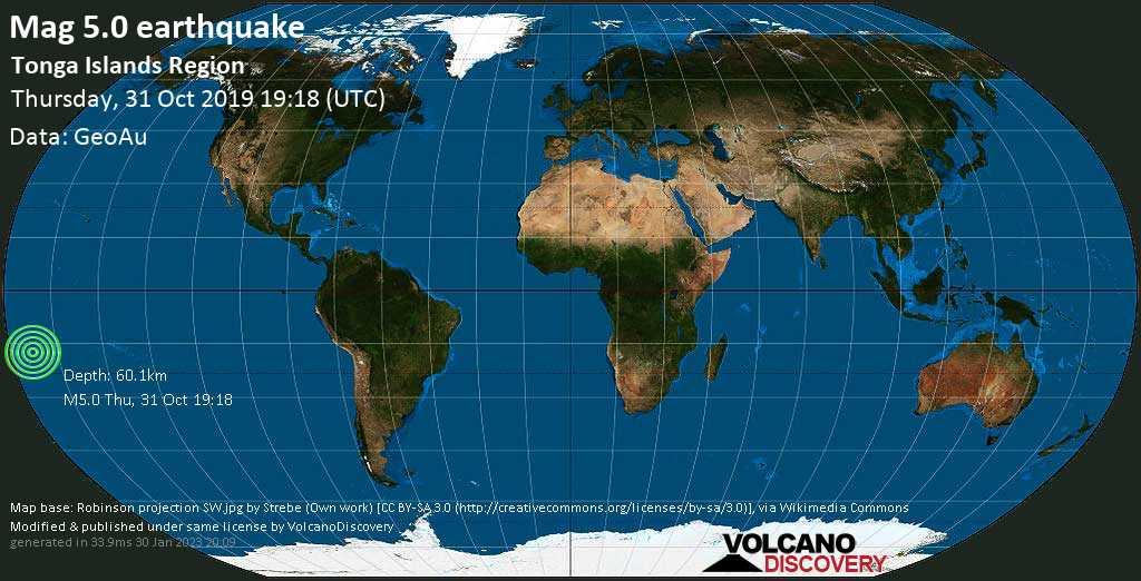 Moderado terremoto magnitud 5.0 - South Pacific Ocean, 248 km NE of Neiafu, Vava'u, Tonga, jueves, 31 oct. 2019