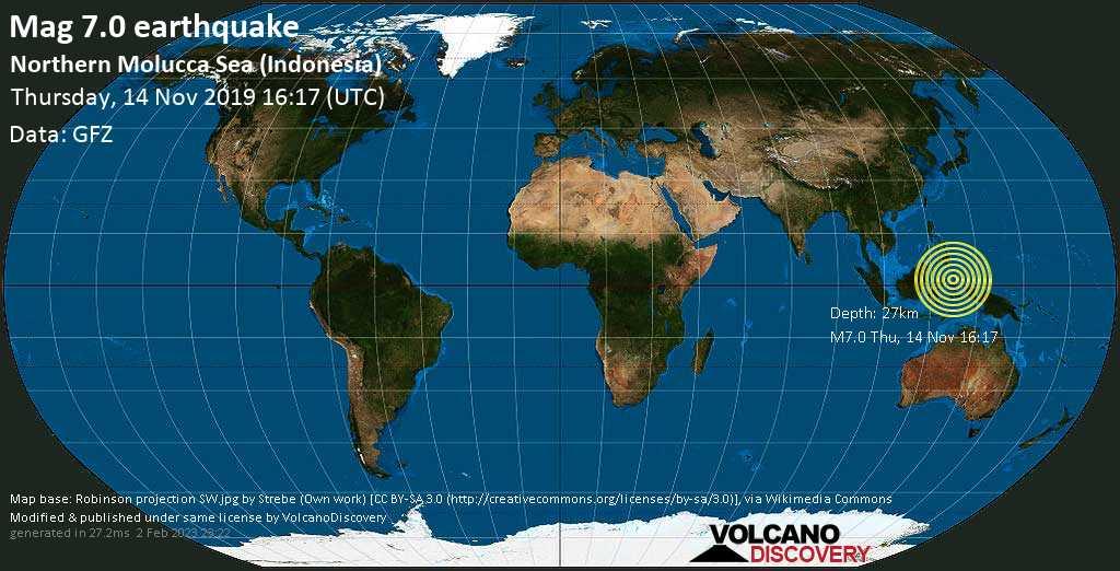 Schweres Erdbeben der Stärke 7.0 - Molucca Sea, 131 km östlich von Bitung, Sulawesi Utara, Indonesien, am Donnerstag, 14. Nov 2019 um 16:17 GMT
