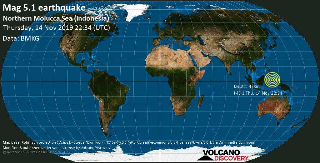 Moderate mag. 5.1 earthquake - Maluku Sea, 140 km east of Bitung, Sulawesi Baroh, Indonesia, on Thursday, 14 November 2019 at 22:34 (GMT)