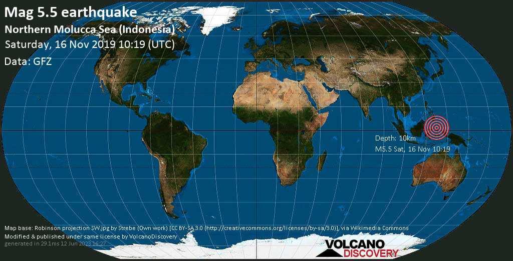 Strong mag. 5.5 earthquake - Maluku Sea, 138 km northwest of Ternate, Maluku Utara, Indonesia, on Saturday, 16 November 2019 at 10:19 (GMT)