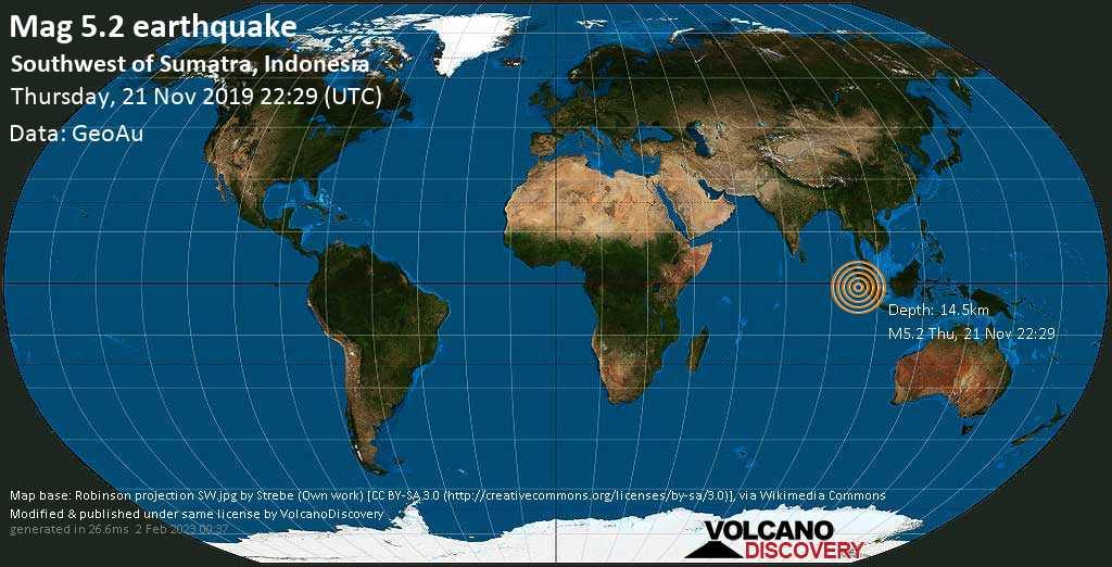 Moderato terremoto magnitudine 5.2 - Indian Ocean, 248 km a ovest da Pariaman, West Sumatra, Indonesia, giovedì, 21 novembre 2019