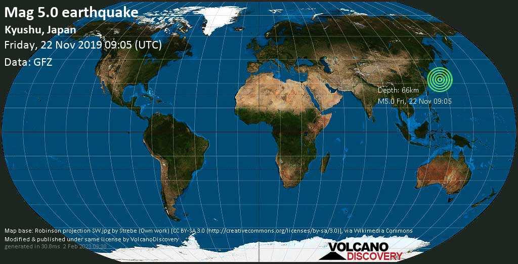 Moderate mag. 5.0 earthquake - Philippines Sea, 41 km east of Miyazaki, Japan, on Friday, 22 November 2019 at 09:05 (GMT)