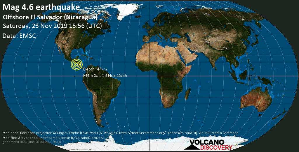 Mag. 4.6 earthquake  - North Pacific Ocean, 130 km west of Chinandega, Nicaragua, on Saturday, 23 November 2019 at 15:56 (GMT)