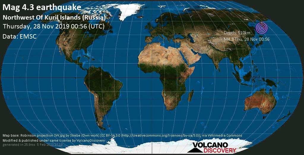 Mag. 4.3 earthquake  - Sea of Okhotsk, 441 km west of Petropavlovsk-Kamchatskiy, Kamchatka, Russia, on Thursday, 28 November 2019 at 00:56 (GMT)