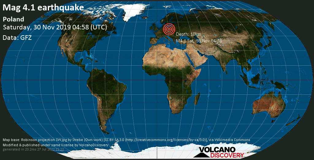 Light mag. 4.1 earthquake  - Poland on Saturday, 30 November 2019