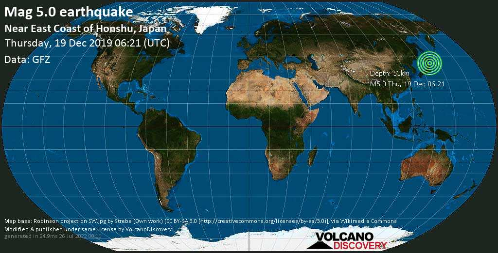 Moderate mag. 5.0 earthquake  - North Pacific Ocean, 45 km east of Hachinohe, Aomori, Japan, on Thursday, 19 December 2019 at 06:21 (GMT)