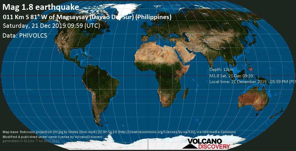 Minor mag. 1.8 earthquake  - 011 Km S 81° W of Magsaysay (Davao Del Sur) (Philippines) on Saturday, 21 December 2019