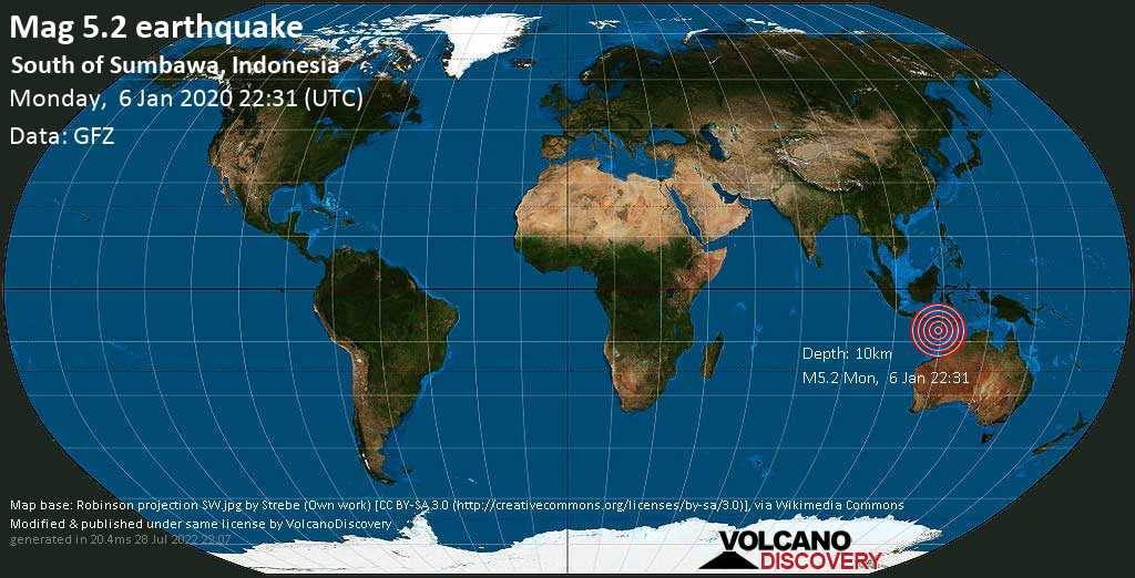 Strong mag. 5.2 earthquake - Indian Ocean, 292 km southwest of Waingapu, East Nusa Tenggara, Indonesia, on Monday, 6 January 2020 at 22:31 (GMT)