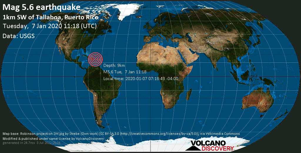 Moderate mag. 5.6 earthquake  - 1km SW of Tallaboa, Puerto Rico on Tuesday, 7 January 2020