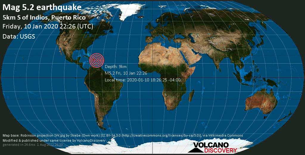 Strong mag. 5.2 earthquake - Caribbean Sea, 4.9 km southeast of Guanica, Puerto Rico, on 2020-01-10 18:26:25 -04:00