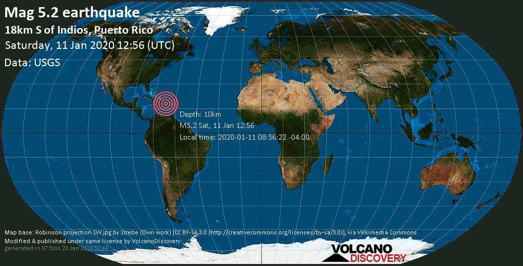 Strong mag. 5.2 earthquake - Caribbean Sea, 27 km southwest of Ponce, Segundo Barrio, Ponce, Puerto Rico, on 2020-01-11 08:56:22 -04:00