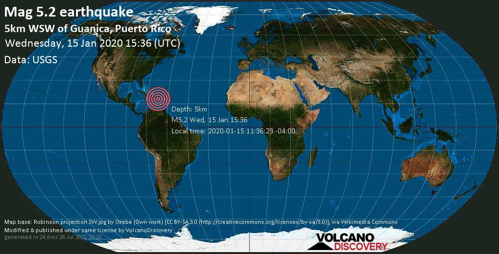 Strong mag. 5.2 earthquake - Caribbean Sea, 5 km west of Cayo Terremoto Island, Guanica, Puerto Rico, on 2020-01-15 11:36:23 -04:00