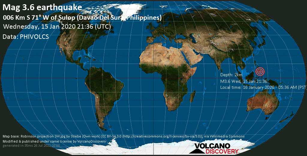 Minor mag. 3.6 earthquake  - 006 km S 71° W of Sulop (Davao Del Sur) (Philippines) on Wednesday, 15 January 2020